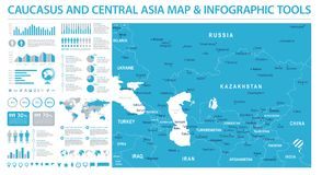 Carte de Caucase et d'Asie centrale - illustration graphique de vecteur d'infos Photographie stock libre de droits