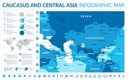 Carte de Caucase et d'Asie centrale - illustration graphique de vecteur d'infos Images stock