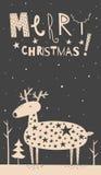 Carte de cerfs communs de Joyeux Noël Photographie stock libre de droits