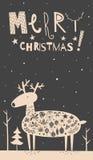 Carte de cerfs communs de Joyeux Noël Image libre de droits