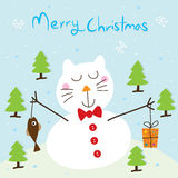 Carte de chat de neige Photo stock