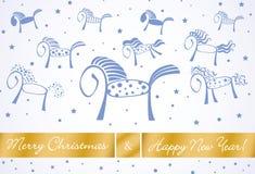 Carte 201 de chevaux de Joyeux Noël et de bonne année Illustration Stock