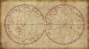 Carte de ciel dépeignant des constellations et des signes de zodiaque Photo stock
