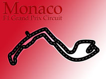 Carte de circuit d'emballage de la formule 1 du Monaco F1 Photos stock