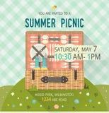 Carte de clairière de pique-nique de famille de vecteur Illustration de nourriture et de passe-temps plat Articles de barbecue Co Images stock