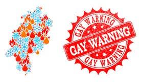 Carte de collage d'état de Hesse de flamme et neige et timbre grunge d'avertissement gai illustration stock