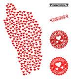 Carte de collage d'amour de Dominica Island et des timbres grunges pour des valentines illustration de vecteur