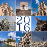 carte 2016 de collage de voyage de Paris Image libre de droits