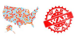Carte de collage des Etats-Unis et de l'Alaska de la flamme et de la neige et du joint grunge de guerre illustration stock