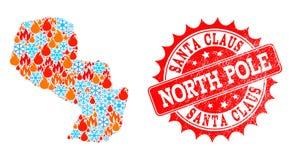 Carte de collage du Paraguay du feu et neige et Santa Claus North Pole Scratched Seal illustration de vecteur