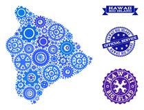 Carte de collage de grande île d'Hawaï avec des vitesses et des tampons en caoutchouc pour des services illustration stock