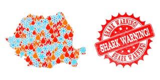 Carte de collage de la Roumanie du timbre rayé par exclamation de avertissement du feu et de neige et de requin illustration de vecteur
