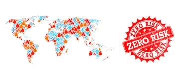 Carte de collage de monde de timbre texturisé de neige et zéro de risque de flamme et illustration de vecteur