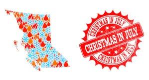 Carte de collage de province de la Colombie-Britannique du feu et des flocons de neige et du timbre texturisé de Noël en juillet illustration stock