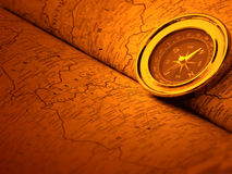 Carte de compas et du monde Images stock