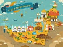 Carte de concept de voyage des EAU Image stock