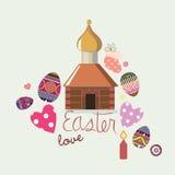 Carte de conception de Pâques avec les éléments illustratifs Photos libres de droits