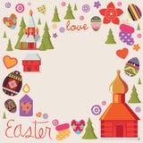 Carte de conception de Pâques avec un ensemble d'éléments illustratifs Image stock