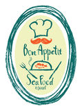 Carte de conception de restaurant de Bon Appetit Sea Food Photo stock