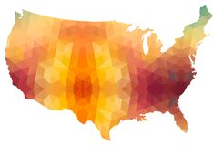 Carte de continent des Etats-Unis de style polygonal Photo libre de droits
