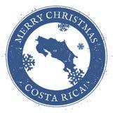 Carte de Costa Rica Côte de Joyeux Noël de vintage Images stock