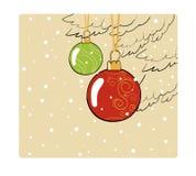 Carte de couleur de Noël de vintage avec des boules Illustration de Vecteur