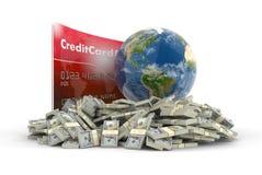 Carte de crédit avec le globe et les dollars (chemin de coupure inclus) Photographie stock libre de droits