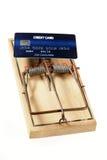 Carte de crédit comme amorce sur la souricière à clapet Photographie stock libre de droits