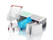 carte de crédit 3d et lecteur de cartes avec le caddie et les sacs illustration de vecteur