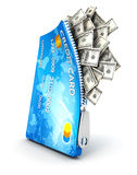 carte de crédit 3d ouverte avec des billets d'un dollar Photo stock