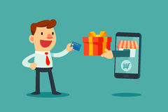 Carte de crédit d'utilisation d'homme d'affaires à shoping en ligne illustration de vecteur