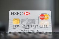 Carte de crédit de HSBC MasterCard sur un clavier Photographie stock libre de droits