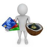 Carte de crédit et île de noix de coco Image libre de droits