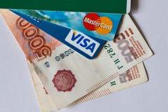 Carte de crédit et argent Images stock