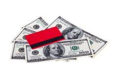 Carte de crédit et billets d'un dollar Image stock