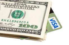 Carte de crédit et dollars Photographie stock libre de droits