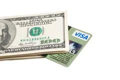 Carte de crédit et dollars Image stock