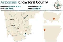 Carte de Crawford County, Arkansas Photo stock