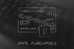 Carte de crédit avec la serrure et chaîne en tant que sécurité drôle de paiement Images stock
