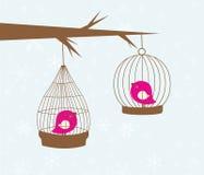 Carte de cru avec deux oiseaux mignons Images libres de droits