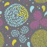 Carte de cru avec les fleurs abstraites de chrysanthemum Image stock