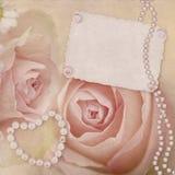 Carte de cru avec les roses roses Photos libres de droits