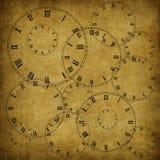 Carte de cru de vieux papier et horloge Photographie stock libre de droits
