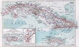 Carte de cru du Cuba et de la Jamaïque au début o Images stock