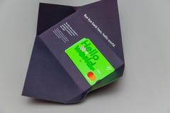 Carte de débit sans frontière de MasterCard de multi-devises de compte de TransferWise photo stock
