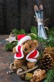Carte de décoration de Noël avec les jouets et l'arbre Photo libre de droits