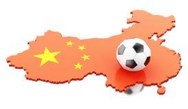 carte de 3d Chine avec le football du football Images libres de droits