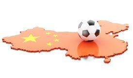 carte de 3d Chine avec le football du football Image stock
