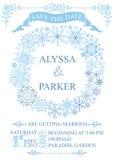 Carte de date d'économies de mariage d'hiver Guirlande de flocons de neige Photo stock
