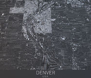 Carte de Denver, vue satellite, Etats-Unis Photos libres de droits